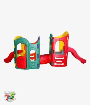 مجموعه بازی پلی اتیلن پارکی دو برج - تحهیزات خانه بازی و لوازم مهد کودک نوین تویز